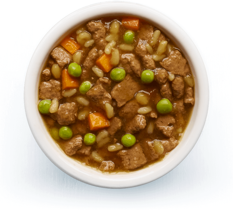 An image of Tails wet food. Slow-cooked stew with beef, rice & vegetables in tasty gravy
