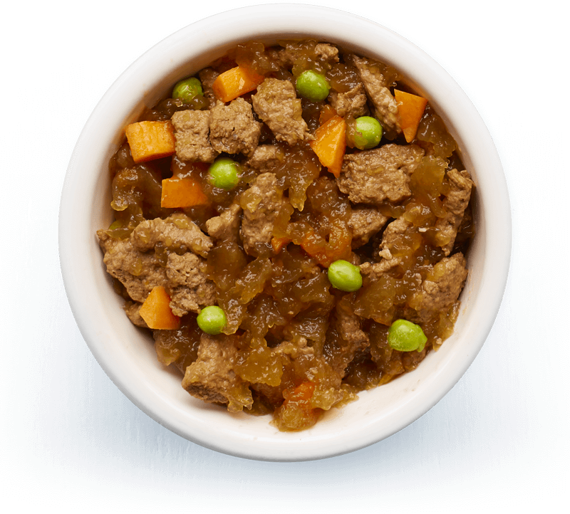An image of Tails wet food. Braised fillets of beef with vegetables in tasty jelly.