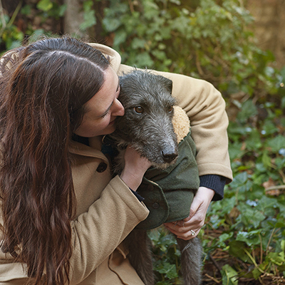 Martina and Blue (the lurcher rescue dog)
