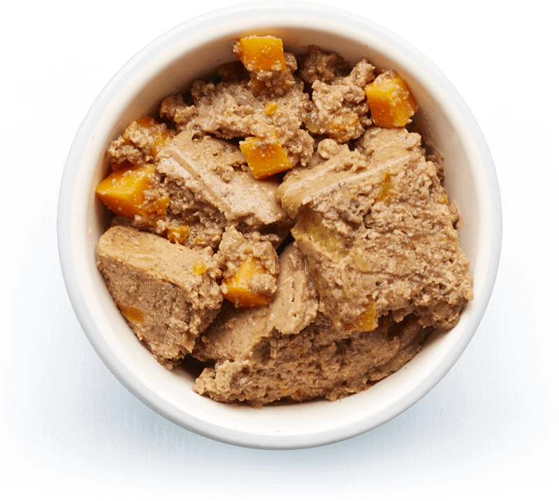 An image of Tails wet food. Country terrine with rabbit & carrots.